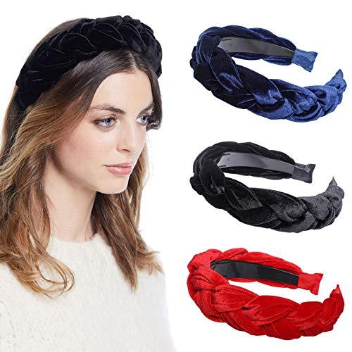 WELROG Gepolstert Stirnbänder Frauen Dick Samt 90s Haar Zubehör Kopfband Spanisch Jahrgang Stil Alice Haarband (Marineblau + Schwarz + Rot)