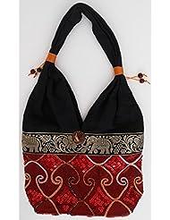 Sac bandoulière, sac besace soie Thai Rouge grenat brodé séquins