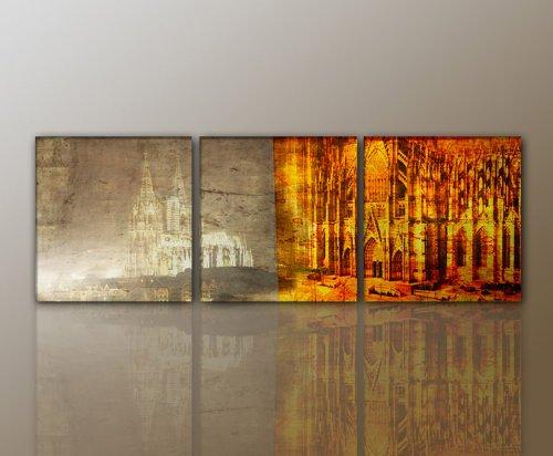 3 teiliges WANDBILD Abstrakt Köln Cologne MODERN STYLISCH Leinwandbild (cologne2-3teilig-50×50 160x50cm) traumhaft Bilder fertig gerahmt mit Keilrahmen riesig. Ausführung Kunstdruck auf Leinwand. Günstig preiswert inkl Rahmen TOP MODERN BESTE QUALITÄT stylisch wertig aus Deutschland vom