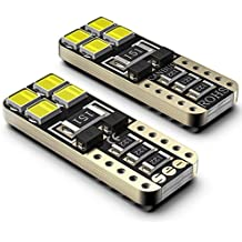 Bombillas LED Coche T10 W5W SEALIGHT 8 SMD Canbus LED T10 5050 2825 175 192 168 194 Y Más Wedge Lampara para coches sin polaridad xenón 12V de interior y exterior 2 Pack Luces LED coche (2)