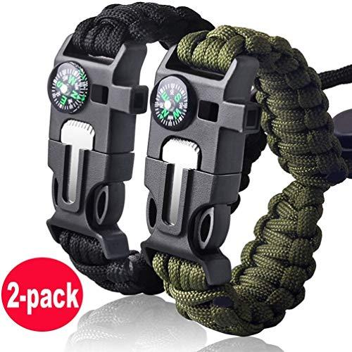 Eklead Bracelet de Survie en paracorde, kit de Survie avec Boussole, thermomètre, Allume-feu, Couteau d'urgence et sifflet pour randonnée, Voyage, Camping (Lot de 2)
