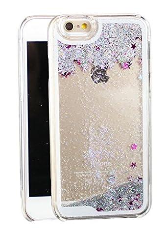 iPhone 6 6s Glitzer Schneekugel Handy-Hülle Tasche Schutzhülle Transparent Bumper Case Back Cover mit Flüssig Sternen-Staub in (Stern Klar Deckel)