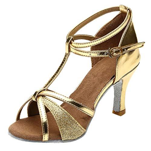 Ballerinas Damen Mädchen Latin Dance Party Tango Salsa Dance Schuhe Med-Heels Satin Schuhe Gold 37