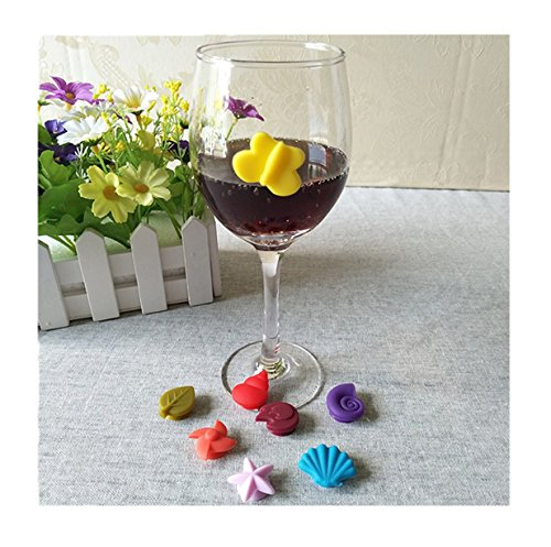 Lalang 8st Muscheln, Seesterne Silikon Weinglas Charme Glasmarkierer Anhänger Dekoration