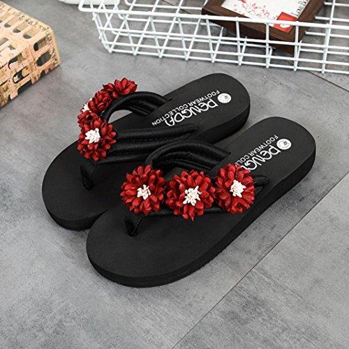 Tongs Femme Plage,OverDose Été Sandales Plates Fleurs Mules Casual Slippers Flat Flip-Flops Rouge