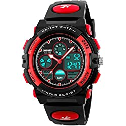 Amstt Unisex Sport Kids Watches Boys Girls Digital Waterproof Alarm Wristwatch for age 7-15 year old Childrens(red)