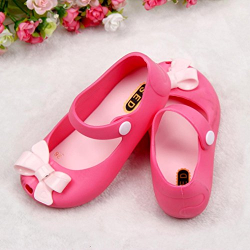 Hunpta Niedliche Mädchen Baby Kinder detaillierte Jelly Bowknot Fisch Mund Sandalen Stiefel Schuhe (Alter: 1-1.5Y, Rosa) Rot