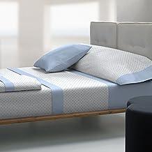 Tolrà T0943 - Juego de sabanas 3 piezas de franela 100% algodón para cama de 105, color azul