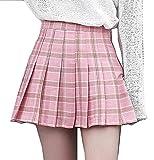 Cheerlife Mädchen Damen süße Prinzessin Büste Rock Plissee Schuluniform Hosenröcke Kariert Faltenröcke Minirock M Rosa