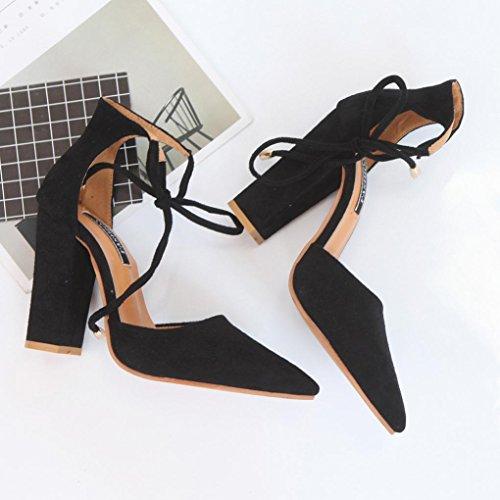 Transer ® Femmes sandales d'été dames escarpins sexy chaussures à talons hauts Noir