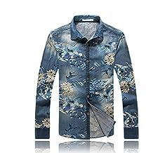 c1515d599d9 Z Versaces Chemise en Jean À Manches Longues De Style Décontracté De Style  Chinois pour Hommes De