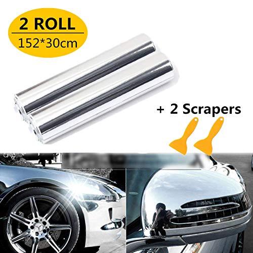 Mioke Lackschutzfolien für Auto,2Rolls Silber Autofolie Aufkleber,1520 x 200mm/300mm/50mm,High Glossy Auto Folien Selbstklebend Flexibel Auto Shutz (1520 x 300mm*2PCS)