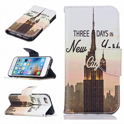 LEMORRY Apple iPhone 7 Etui Gaufré Cuir Flip Portefeuille Pochette Mince Bumper Protecteur Magnétique Fermeture Standing Fente Carte Soft Silicone TPU Housse Case Cover Coque pour iPhone 7, New York