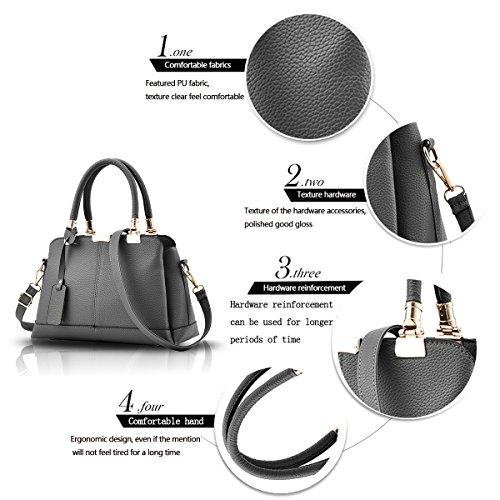 Tisdaini Il raccoglitore elegante del sacchetto di spalla della borsa delle donne tre strati delle borse molli della borsa del sacchetto dell'unità di elaborazione di modo Grigio scuro