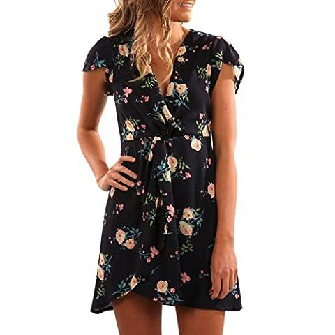 Amlaiworld Damen baumwolle bunt Blume Drucken kleider mode Kurz V-Ausschnitt Kleid Freizeit kleidung für Mädchen (S, Schwarz)