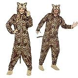 NET TOYS Leopardenkostüm Jumpsuit Leopard M Ganzkörperkostüm Leolook Overall Leoprint Tierkostüm Unisex Outfit Junggesellenabschied