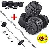 Popamazing 30kg Adjustable Dumbbell and Barbell Set Workout Equipment