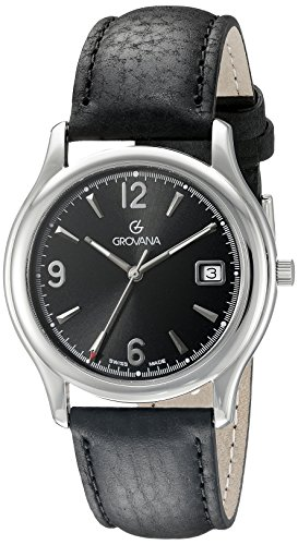 GROVANA 1207.1137 Men's Quartz Swiss Watch with Black Dial Analogue Display and Black Leather Strap