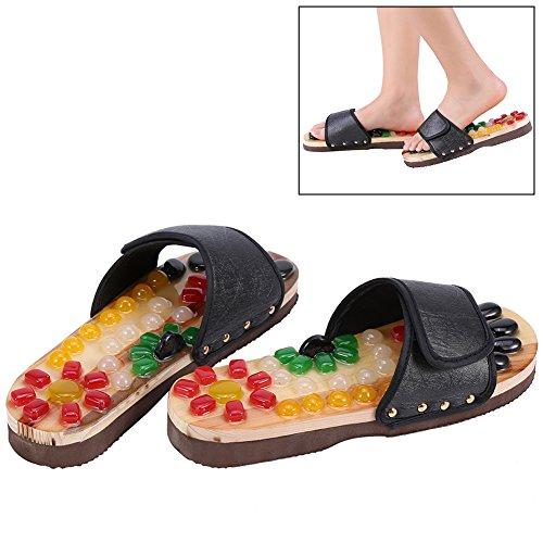 Massage-Schuhe Bunte Kieselsteine Naturstein Massage Schuhe Fußreflexzonen Akkupressur für Fußpflege Entspannung zu Hause(41-Schwarz)
