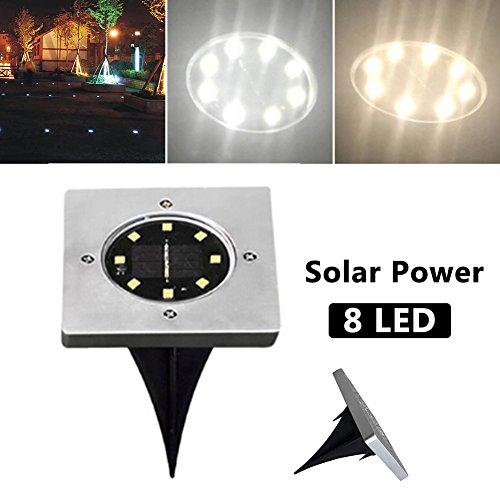 [Solar Bodenleuchten] Außenleuchten Eckig Gartenleuchten 8 LED Solarleuchte Bodeneinbauleuchte Wasserdicht IP44 Gartenbeleuchtung Bodeneinbaustrahler-Warm Leucht