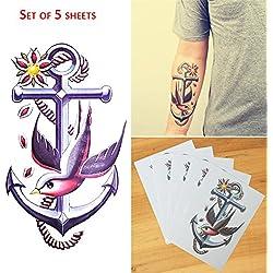 COKOHAPPY 5 hoja Temporales Tatuaje Grande Tatuaje Peace Pájaro Ancla Destello Tattoos