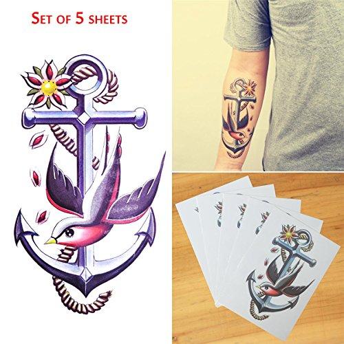 COKOHAPPY 5 Blätter Temporäre Tattoo Groß Tattoo Peace Vogel Anker Flash Tattoo (Große Vogel Teen Kostüme)
