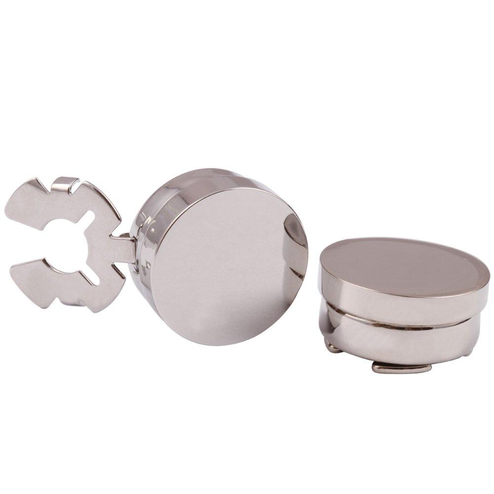 DIGABI Men's Jewelry Silver 10mm Cuff Link Round Button Covers