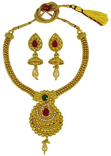 Matra Goldton CZ Stein Frauen 2 Stück Halsketten Ohrringe Ethnic Trachten (Schmuck Cz Ohrringe Trachten)