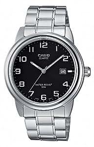 Casio - MTP-1221A-1AVEF - Montre Homme - Quartz Analogique - Cadran Noir - Bracelet Acier Argent