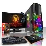 Fierce Storm RGB Gaming PC Bundeln – Schnell 4 x 3.7GHz Quad-Core AMD Ryzen 5 1500X, 1TB Seagate FireCuda Solid State Hybrid Drive, 16GB von 2133MHz DDR4 RAM / Speicher, NVIDIA GeForce GTX 1060 6GB, Gigabyte AB350M-Gaming 3 Hauptplatine, GameMax Sirius RGB Computergehäuse, HDMI, USB3, Wi – Fi, VR Bereit, Perfekt für Wettkampfspiele, Windows nicht Enthalten, Tastatur (VK/QWERTY), Maus, 3x 24-Zoll-Monitore, Headset, 3 Jahre Garantie 377181 51Qo1s1c0 L