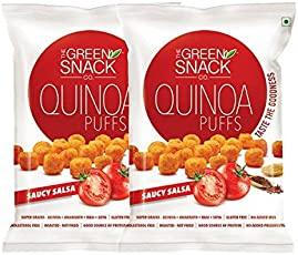 The Green Snack Co. Quinoa Puff Saucy Salsa (Pack of 2) 50g Each [Healthy & Roasted Snack]