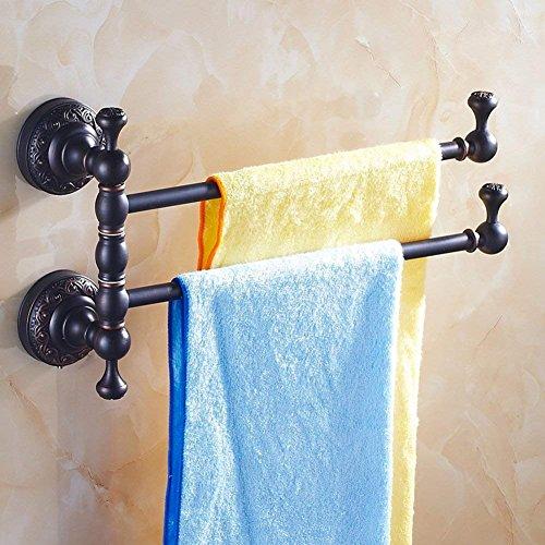 NAERFB Continental Handtuchhalter/Alle Kupfer Seifenschale/Zahnbürstenhalter Schwarz/antik Rotary Handtuchhalter/Einzel- und Doppelzimmer, DREI-A