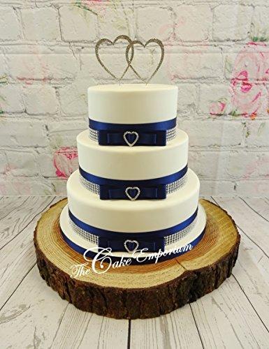 Gâteau de mariage gâteau de cœur 3 Boucles en strass – Strass – Double cœur Bleu marine satiné et strass effet Bordure