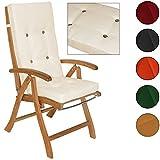 Detex® Stuhlauflagen Hochlehner Vanamo | Befestigungsschlaufen | 6er Set | Farbauswahl | Creme | Auflage Sitzauflage Rückenkissen Stuhlkissen Sitzkissen
