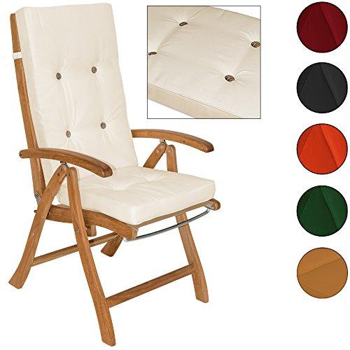 2 Stück Moderner Stuhl (Detex® Stuhlauflagen Hochlehner Auflage Sitzauflage Rückenkissen Stuhlkissen Kissen Sitzkissen Vanamo Farbauswahl ✓ 6er Set ✓ Creme)