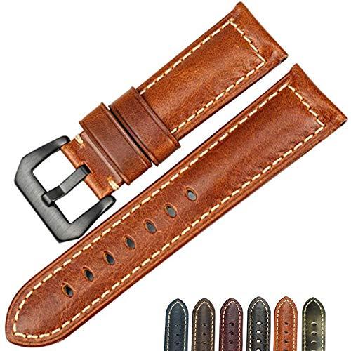 Preisvergleich Produktbild Duk3ichton Uhrenarmband 20-26mm Vintage Quick Release Echtes Leder Ersatz Armband Handschlaufe 3 22mm