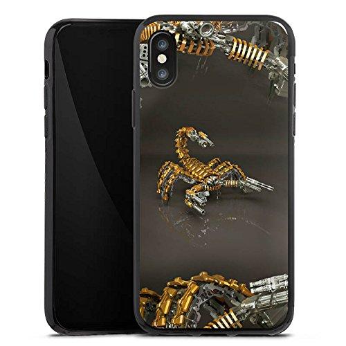 Apple iPhone X Silikon Hülle Case Schutzhülle Skorpion Gold Scorpion Silikon Case schwarz