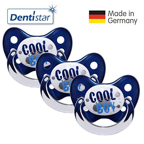 Preisvergleich Produktbild Dentistar® Schnuller 3er Set - Nuckel Silikon in Größe 1 von Geburt an, 0-6 Monate - zahnfreundlich & kiefergerecht - Beruhigungssauger für Babys - Blau Cool Boy