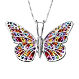 925 Sterling Silber Schmetterling Halskette - 30x45mm Anhänger aus Polymer Fimo im Millefiori Blumen Design, 42cm Silberkette