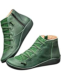 99native@ 2019 Newest Arch Support Boots Bottes d'hiver Femme Bottes et Bottines -Leather Ankle Boots Autumn Vintage Lace Up Women Shoes Comfortable Flat Heel Boots Zipper Short Boot (Vert, 39)