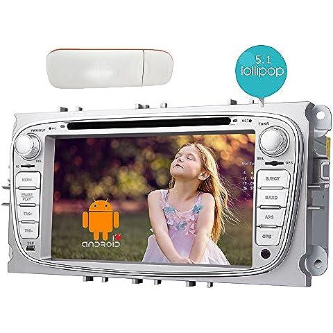 7Inch CPU 1.6G Android 5.1.1 Lollipop Car DVD Player Screen Dash Touch con il supporto di memoria interna stereo di navigazione per auto Bluetooth Doppio Din unit¨¤ principale RK3188 Cortex A9 Quad Core 1.6Ghz 16GB Airplay 4G internet WiFi Specchio link Headunit