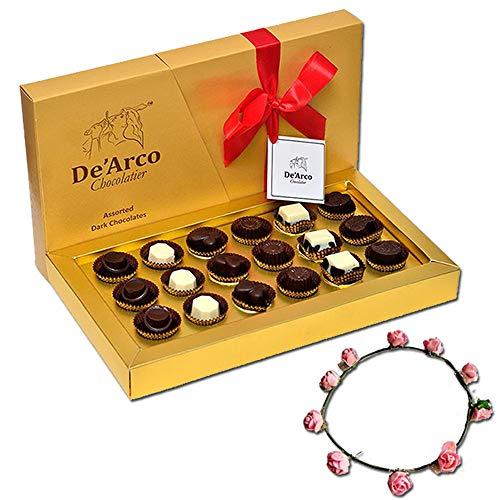 De'Arco Chocolatier Valentines Day Chocolate Gift, Premium Luxury Chocolates, 18pcs + Free Tiara