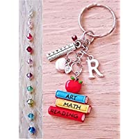 Handmade Personalised Colourful Teacher Charm Keyring Bag Charm with Ruler and Apple
