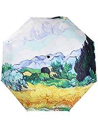 aibag obra maestra de Van Gogh óleo 3 plegable sombrilla anti-UV paraguas