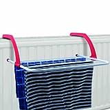 Balkongeländer / Heizkörper praktischer Wäschetrockner / Wäscheständer - ca. 3 Meter Leine (Ink. Plastikschutzkappen)