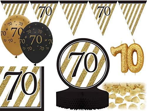 26 Teile Dekorations Set zum 70. Geburtstag oder Jubiläum - Party Deko in Schwarz & Gold (70. Geburtstag Geschirr)