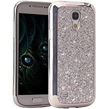 Galaxy S4 Mini Case, Galaxy S4 Mini Funda Silicona, Asnlove carcasas y funda Gel silicone brillo back case shell skin diseño bling brillante tapa trasera para Samsung Galaxy S4 Mini I9515 I9190, Plateado