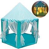 deAO Tenda da Campeggio Tipi Castello con Luci a LED Casa Tende dei Giochi per Bambini attività Ricreative al Coperto e all'Aperto Area Ricreativa per Ragazzi e Ragazze (Blu)