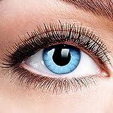 Farbige Kontaktlinsen ohne Stärke Solar Blue Blau Motiv-Linsen Halloween Karneval Fasching Cosplay Anime Manga Blaue Augen Farbig Eye Devil Eis Hexe Engel Elfe 0 dpt