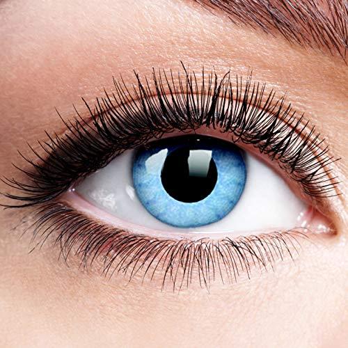 Farbige Kontaktlinsen mit Stärke Solar Blue Blau Motiv-Linsen Halloween Karneval Fasching Cosplay Anime Manga Blaue Augen Farbig Eye Devil Eis Hexe Engel Elfe - 3 dpt